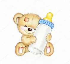 Teddy bear with bottle of milk - Buy this stock illustration and explore similar illustrations at Adobe Stock Teddy Bear Drawing, Teddy Bear Tattoos, Teddy Bear Nursery, Teddy Bear Pictures, Baby Painting, Baby Clip Art, Baby Album, Cute Teddy Bears, Happy Fun