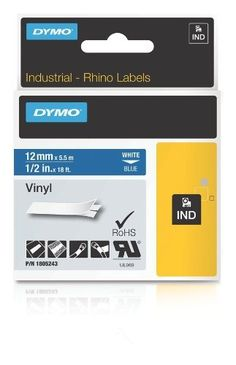 DYMO Rhino 1/2-Inch  (12mm) Blue Vinyl Label Cassette  (1805243) by DYMO. $15.94. Colored vinyl labels are a perfect solution for general labeling in and around a facility or where colored labels are required. Color coding gives a better visual recognition to your identification needs. These labels are ideal for warning and safety messages, patch panels/face plates and general labeling where color labels are required. Additionally, vinyl labels can be used outdoo...