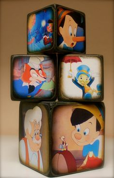 Pinocchio Blocks by ChickenDoodles on Etsy Cute Disney, Disney Art, Disney Rooms, Disney House, Wood Block Crafts, Disney Crafts, Baby Birthday, Kids Room, Crafty