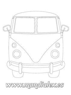 plantilla Furgoneta Volkswagen hippie