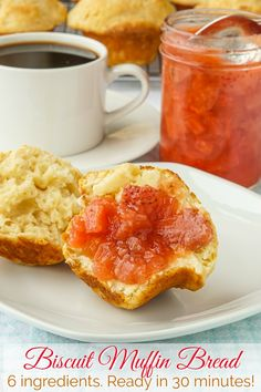 Ready in 30 mins using 6 common ingredients! Ready in 30 minutes! An incredibly quick, easy, versatile, 6 ingredient recipe, that can take the place of bread rolls or biscuits at dinner or muffins for brunch. Muffin Recipes, Bread Recipes, Baking Recipes, Diet Recipes, Recipies, Biscuit Bread, Muffin Bread, Rock Recipes, Easy No Bake Desserts