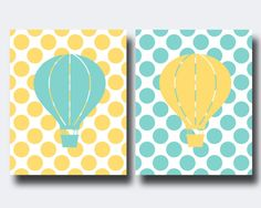 Hey, I found this really awesome Etsy listing at https://www.etsy.com/pt/listing/178068925/nursery-yellow-and-aqua-hot-air-balloons