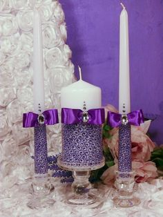 LACE Lavender purple Wedding Unity Candle. Set of 3 by DiAmoreDS, $43.00