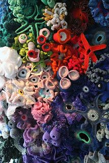 The Hyperbolic Crochet Coral Reef is a project by the Institute For Figuring in Los Angeles. The Crochet Reef resides at the intersection o. Crochet Fish, Freeform Crochet, Crochet Art, Irish Crochet, Crochet Crafts, Crochet Flowers, Crochet Toys, Crochet Projects, Crochet Patterns