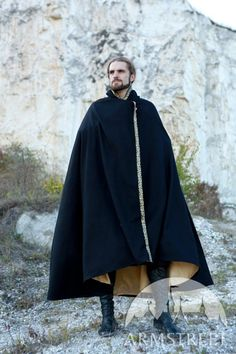 """Medieval Fantasy Exclusive Wool and Trimming Prince Cloak with lining """"Knight of the West"""" for sale. Available in: red wool, black wool, bronze color, silver :: by medieval store ArmStreet Head To Toe, Archery, Mens Cape, High Leather Boots, Fantasy Dress, Fantasy Outfits, Medieval Clothing, Hip Bag, Medieval Fantasy"""