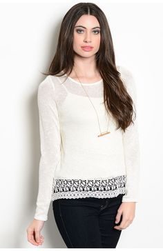 Long Sleeve Knit Top With Sheer Lace Trim