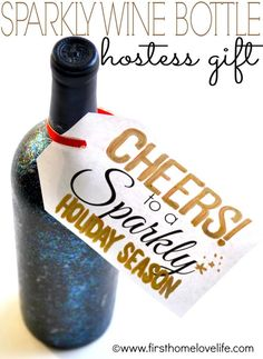 Sparkly Wine Bottle Hostess Gift
