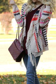 fringe details, fringe, tory burch, burgundy, burgundy bag, skinny paige denim, fringe booties, tribal print sweater, fall, cardigan, blonde, how to style cardigan, drape cardigan, patterned sweater, fall trends