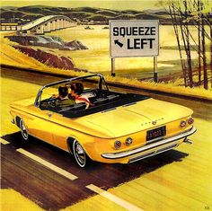 ... suggestive Corvair!, via Flickr. Vintage car ad.