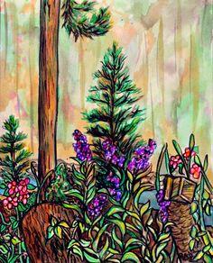 Original ink forest painting  Cabin plein air 1 by rachelledyer, $40.00