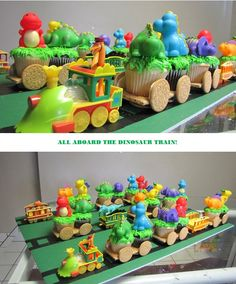Train cake replace dinos with circus animals Dinosaur Train Cakes, Dino Train, Dinosaur Birthday Cakes, Dinosaur Party, Trains Birthday Party, 3rd Birthday Parties, Birthday Fun, Birthday Ideas, Train Cupcakes
