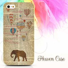 """""""Elephant Hot Air Baloon Newspaper"""" available For Iphone 4/4s/5/5s/5c case , Samsung Galaxy S3/S4/S5/S3 mini/S4 Mini/Note 2/Note 3 case , HTC One X and HTC One M7 case"""