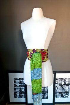 Reversible OBI BELT  African wax print by folieAdeuxVintage, $45.00