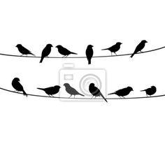 Vinilo para Pared siluetas de aves vector sentado en el alambre