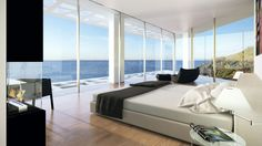 Home Design Bedroom Among White Bed Also Black Lazy Chair With Footboard Modern Paint in Seaside House with White Wall