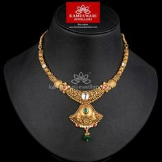 Traditional gold necklaces for women from the house of Kameswari. Shop for antique gold necklace, exquisite diamond necklace and more! Heart Pendant Necklace, Pendant Jewelry, Gold Jewelry, Gold Necklace, Initial Necklace, Gold Bangles, Necklace Set, Wedding Jewelry, Gold Rings