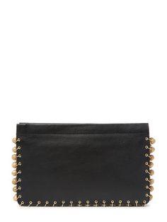 101/2 x 6 1/2 in  Lenox Beaded Chain-Link Portfolio Leather Clutch by DANNIJO