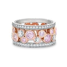Pink and white diamond Bubbles ring
