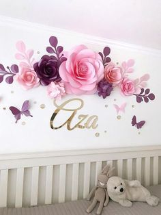 Nursery Paper Flowers – Paper flowers over the crib – Baby Girl Room Paper Flowers – Baby Room Wall Decor Vivero flores flores de papel von Baby niña sala Large Paper Flowers, Paper Flower Wall, Paper Flower Backdrop, Diy Flowers, Flowers Decoration, Garden Decorations, Flower Ideas, Wedding Flowers, Diy Paper