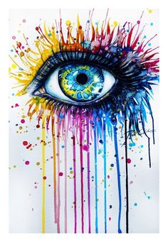 Stunning splashy watercolor painting of a beautiful eye by German artist Svenja Jodicke « « Mayhem & Muse