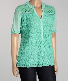 Another great find on #zulily! Mint Floral Crochet V-Neck Top - Plus #zulilyfinds