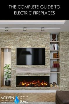 Electric Fireplace Buying Guide Built In Electric Fireplace, Fireplace Built Ins, Fireplace Inserts, Modern Fireplace, Fireplace Wall, Living Room With Fireplace, Brick Wall, Gas Fireplaces, Electric Fireplaces