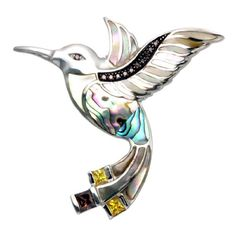 Sterling Silver Hummingbird With Inlaid Shell Pin/Pendant ** To View  Further For This