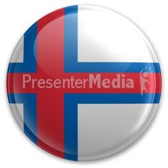 An image of the Faroe Island's flag on a button. #powerpoint #clipart #illustrations