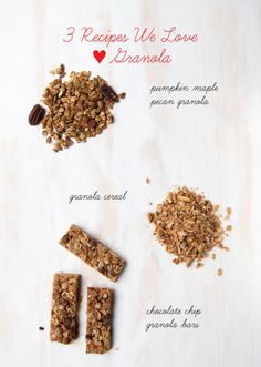 We eat a lot of granola around here. Everyone seems to like it and I love that I can pack so many grains, nuts, seeds and/or dried fruit into it. So, I thought I would share with you 3 granola recipes that we are loving right now | LunchingDaily.com