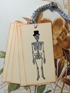 Tags Goth Halloween Skull Skelleton Top Hat Vintage by bljgraves, $4.00