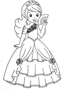 The Beautiful Princess In Her Fancy Dress ColoringColoring Book