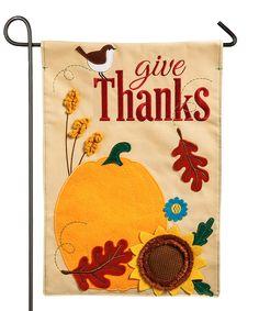 'Give Thanks' Felt Outdoor Flag