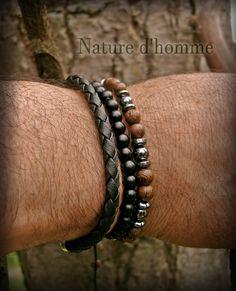 Bracelet tressé bois et pierre d'hématite Réf: BN-258 | Etsy Bracelets Fins, Bracelets For Men, Jewelry Making, Etsy, Bead, Sliding Knot, Braided Bracelets, Braid, Stone