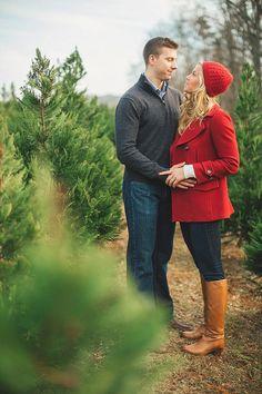 Adorable Christmas tree farm engagement photos! by JoPhoto | The Bride Link | LB Floral