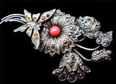 Antique Brooch Butterfly Signed Tomeco Slovaquie Silver Coral Citrine Marcasite | eBay