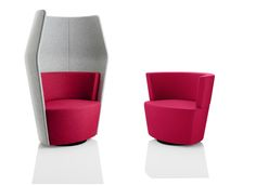 Peek and Boo are a playful duo for the modern workplace. They can be used independently to create single person booths for private work, or positioned next to each other to form collaborative spaces for informal meetings, conversations, group work and more. The booths are comfortable, informal, and colourful, perfect for the contemporary office. | Creating Happy Offices | Sound Proof Acoustic Phone Booths, Mid-Century and Contemporary Office Design and Furniture | Framery UK & Office…