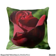 Elegant Red Velvet Rose Pillows - $35.95 - Elegant Red Velvet Rose Pillows - by ‪#‎RGebbiePhoto‬ @ zazzle - ‪#‎rose‬ ‪#‎red ‪#‎green‬ - A beautiful rosebud, deep velvet red in color, in a spring garden. Strong red and green theme, this elegant rose adds a touch of class to any occasion. Elegance and Romance, a lover's flower. A definite must for red rose lovers!