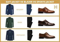 Blazer vs Suit Jacket vs Sports Jacket - Hockerty Blazer Vs Suit Jacket, Jacket Dress, Navy Blue Blazer, Colored Blazer, Join Fashion, Mens Fashion, Formal Jacket, Classic Suit, Vs Sport