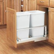 Rev-A-Shelf - Double Bottom Mount Aluminum Waste Containers.  5349-1527DM-2.  We have used these a couple times now with flush inset cabinetry and they operate very well.