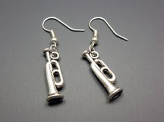 Trumpet Earrings  musical instrument music jewelry funny by Szeya