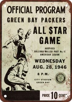 1946 Green Bay Packers All Star Game #vintage #packers #nfl