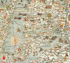 f Olaus Magnus Map of Scandinavia 1539 - high resolution image from old book.Size in pixels: