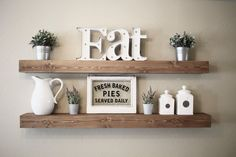 These beautiful wooden floating shelves are perfect for displaying decor in your home.  Perfect for saving space while creating an eye-catching piece w ...