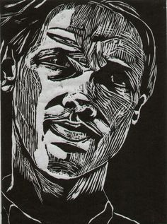 "Woodcut by Leena Nevalainen-Smith, ""Jukka K"""