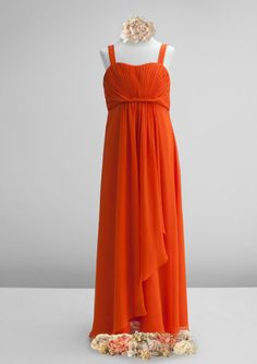 High quality 2015 Sleeveless Chiffon Ruched Orange Straps Floor Length Junior…
