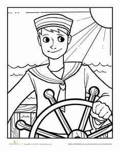 Worksheets Sailor Coloring Page