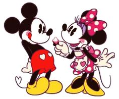 Minnie must be giving Mickey a small little tasty treat