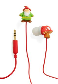Enchanted Playlist Earbuds by Decor Craft Inc. - Multi, Green, White, Mushrooms, Fairytale, Kawaii