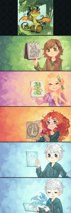 Hiccup, Rapunzel, Merida, and Jack's art. Just thought I'd mention that Hiccup could draw a better picture than the one he's holding....