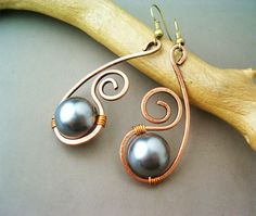 Wire Wrapped Earrings Copper and Resin Gemstone by GearsFactory